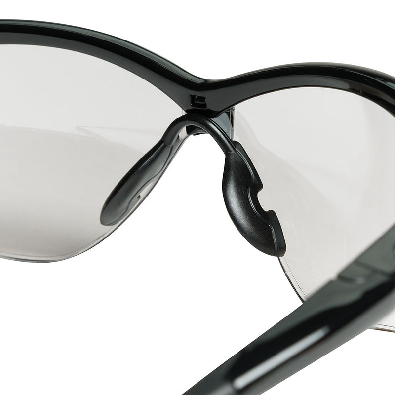 Safety Glasses with Black Frame and Indoor/Outdoor Len (Case of 12 Pcs)