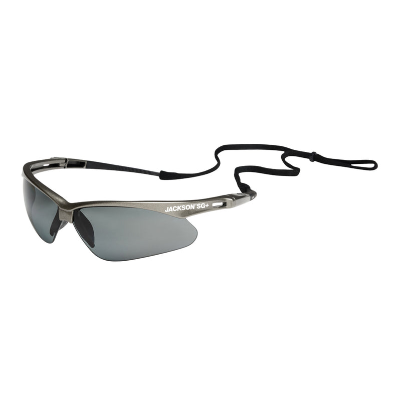 Safety Glasses + with Gunmetal Frame and Smoke Lens (Case of 12 Pcs)