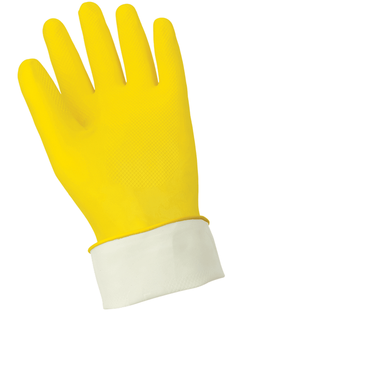 Global Glove 150FE Economy Flock-Lined Yellow Latex Unsupported Gloves with Diamond Pattern Grip (Case of 144 Pairs)
