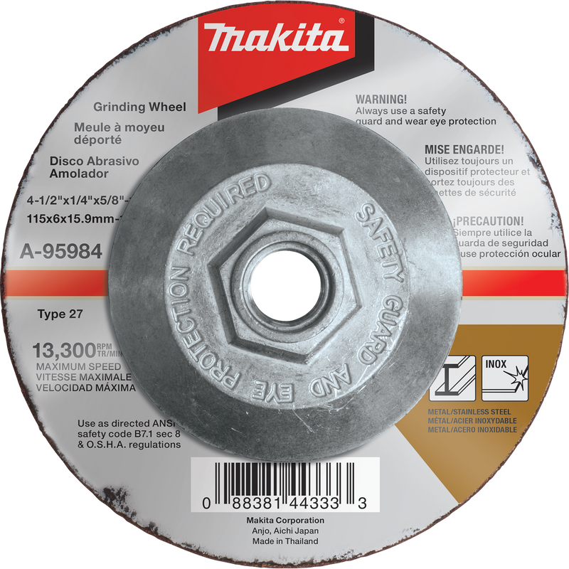 "Makita A-95984 4-1/2"" x 1/4"" x 5/8-11"" INOX Grinding Wheel, 36 Grit (Pack of 25)"