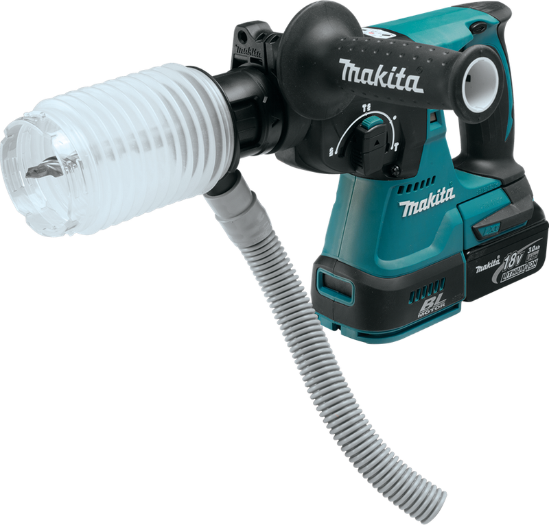 "Makita XRH01ZVX 18V LXT® Lithium‑Ion Brushless Cordless 1"" Rotary Hammer, accepts SDS‑PLUS bits, w/ HEPA Dust Extractor Attachment, Tool Only"