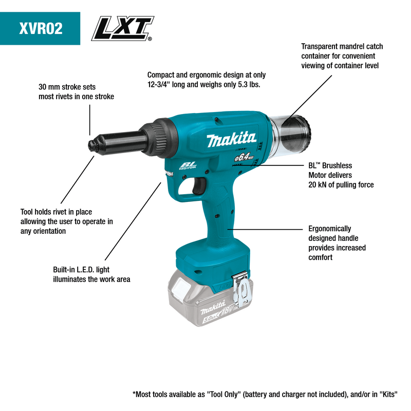 18V LXT® Lithium‑Ion Brushless Cordless Rivet Tool, Tool Only