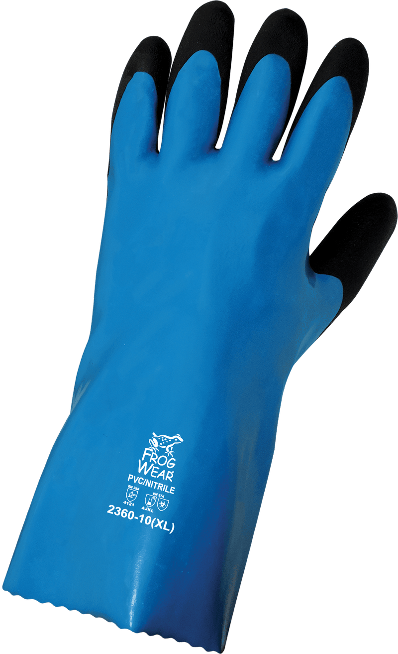 Global Glove 2360 Chemical Resistant Supported Neoprene, PVC and Nitrile Gloves (Case of 72 Pairs)