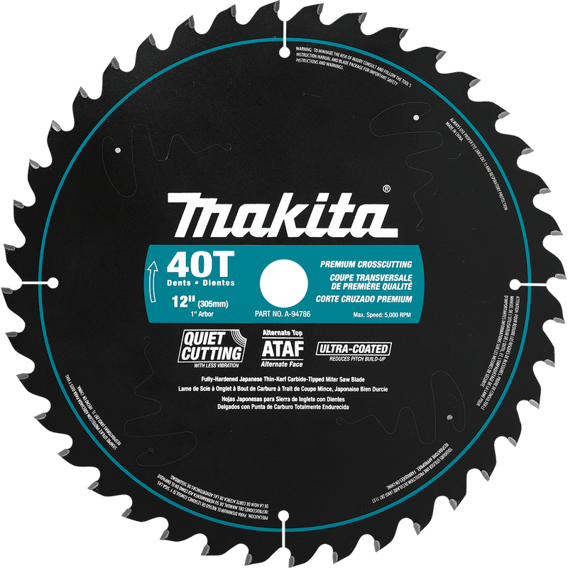 "Makita A-94786 12"" 40T Ultra‑Coated Miter Saw Blade (Pack of 30)"
