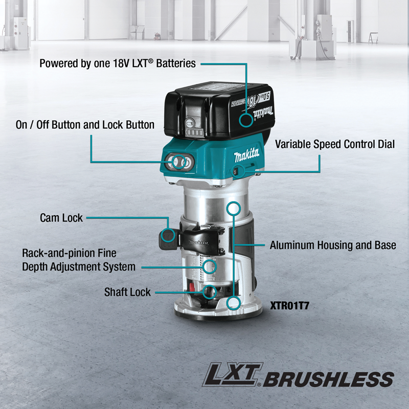 18V LXT® Lithium‑Ion Compact Brushless Cordless Router Starter Kit (5.0Ah)