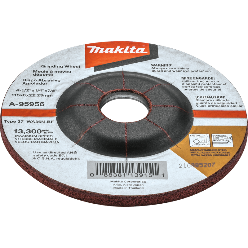 "4-1/2"" X 1/4"" X 7/8"" INOX Grinding Wheel, 36 Grit (Pack of 25)"