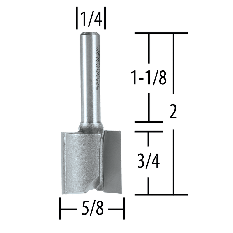 "5/8"" Straight, 2 Flute, C.T. Router Bit, 1/4"" Shank, 3/4"" Cut (Pack of 2)"