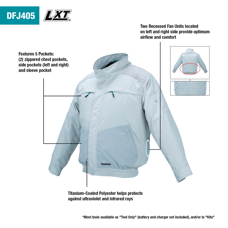 18V LXT® Lithium‑Ion Cordless UV Resistant Fan Jacket, Jacket Only