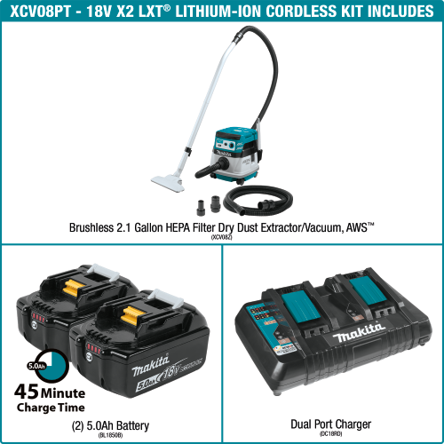 18V X2 (36V) LXT® Lithium‑Ion Brushless Cordless 2.1 Gallon HEPA Filter Dry Dust Extractor/Vacuum Kit, AWS™ (5.0Ah)