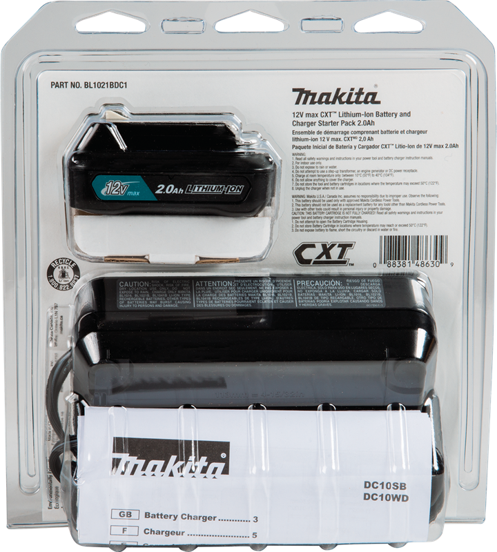 Makita BL1021BDC1 max CXT® Lithium‑Ion Battery and Charger Starter Pack (2.0Ah) (Pack of 5)