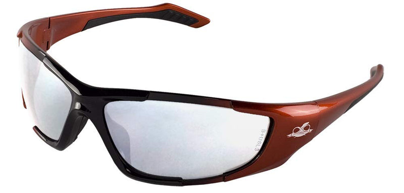 Bullhead BH12137 Silver Mirror Lens, Black to Orange Frame Safety Glasses (144 Each/Case)