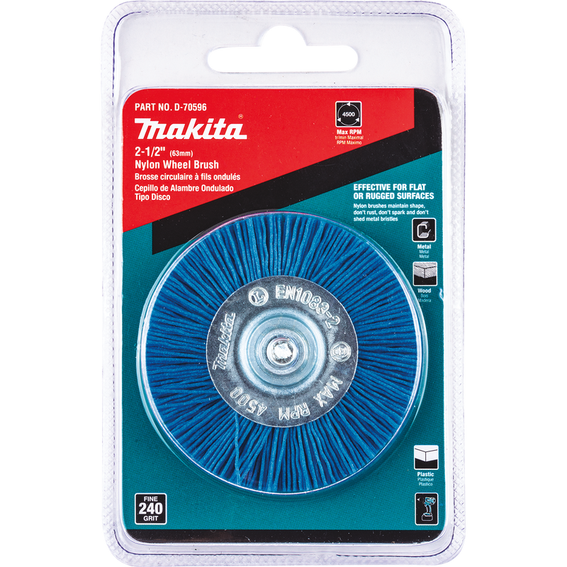 "Makita D-70596 2‑1/2"" Nylon Wheel Brush, Fine, 240 Grit (Pack of 120)"