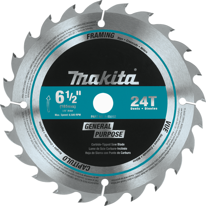 "Makita A-85092 6-1/2"" 24T Carbide-Tipped Circular Saw Blade, General Purpose (Pack of 20)"