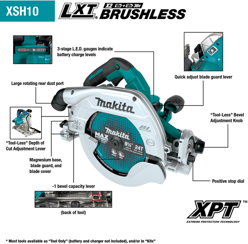 "18V X2 (36V) LXT® Lithium‑Ion Brushless Cordless 9‑1/4"" Circular Saw with Guide Rail Compatible Base, AWS™ Capable, Tool Only"