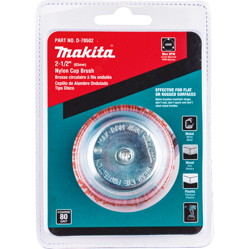 "Makita D-70502 2‑1/2"" Nylon Cup Brush, Coarse, 80 Grit (Pack of 120)"