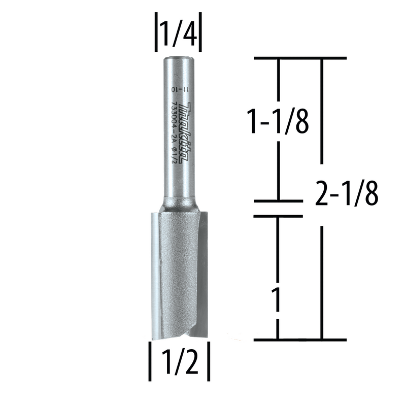 "Makita 733004-2A Router Bit 1/2"" Straight 2 Flute, 1"" Cut, 1/4"" SH, C.T (Pack of 2)"