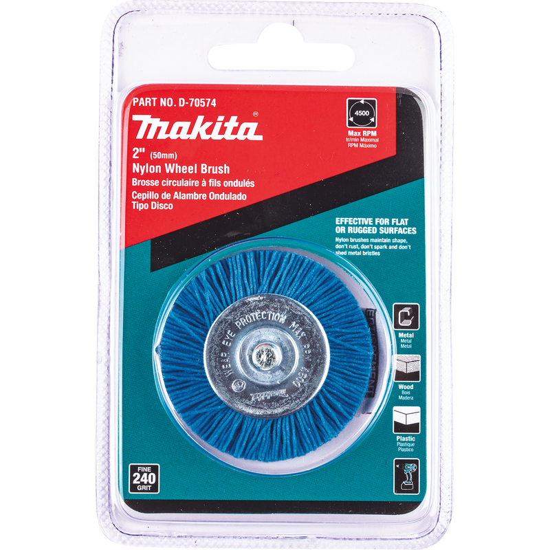 "Makita D-70574 2"" Nylon Wheel Brush, Fine, 240 Grit (Pack of 120)"
