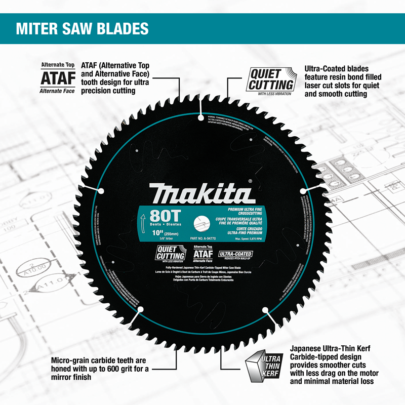 "10"" 80T Ultra‑Coated Miter Saw Blade"
