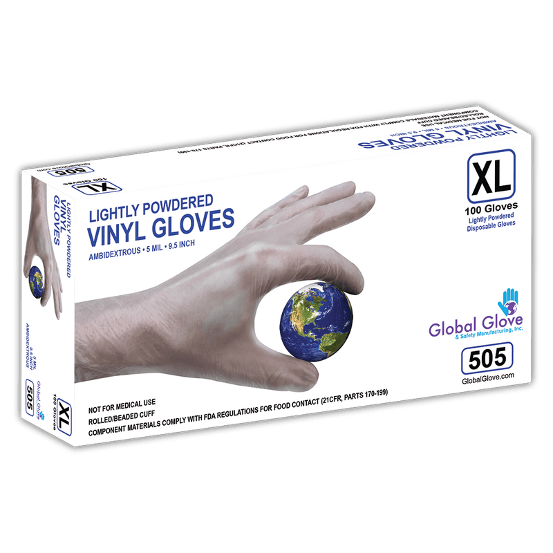 Lightly Powdered 5-Mil Industrial-Grade Clear Vinyl Disposable Gloves - 505 (10 Box/Case)