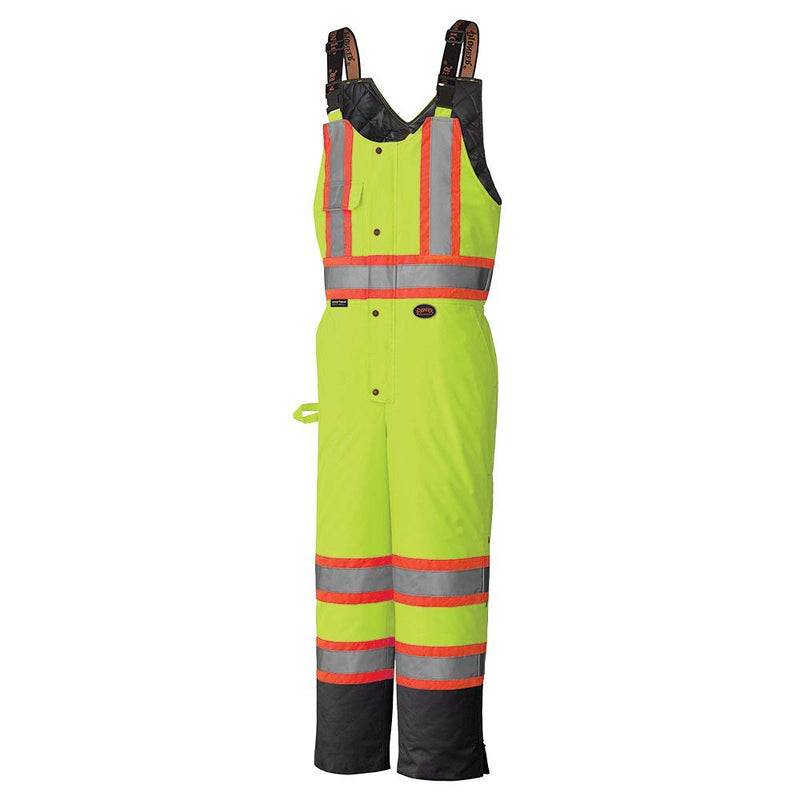 High Visibility Safety Bib Pant with Adjustable Suspenders Yellow Green(Case Of 5 Pcs)