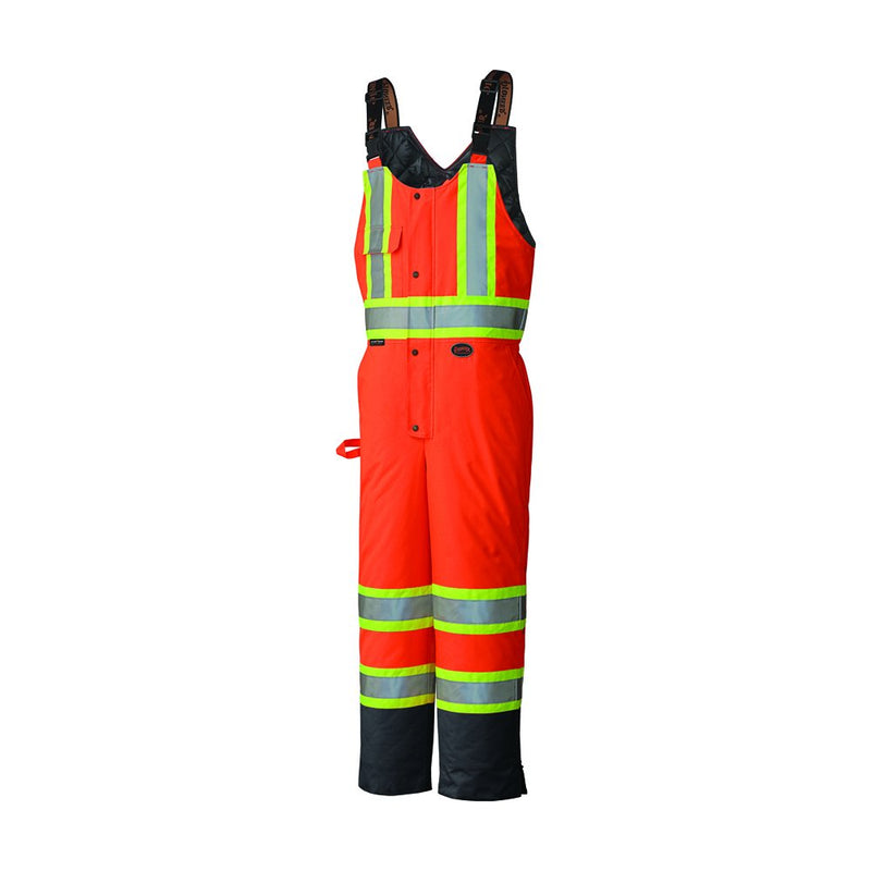 High Visibility Safety Bib Pant with Adjustable Suspenders Orange(Case Of 5 Pcs)