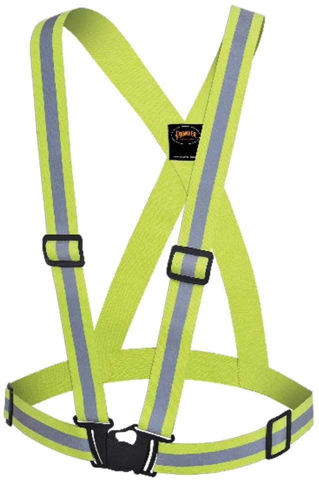 "Pioneer V1041060U Hi Vis Safety Sash Reflective Belt Vest – 1.5"" High-Visibility - Green (Case Of 25  Pcs)"