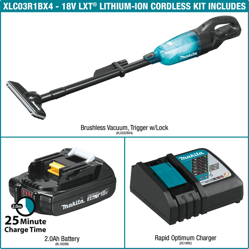 Makita XLC03R1BX4 18V LXT® Lithium‑ion Compact Brushless Cordless Vacuum Kit, Trigger w/ Lock (2.0Ah) (Pack of 4)