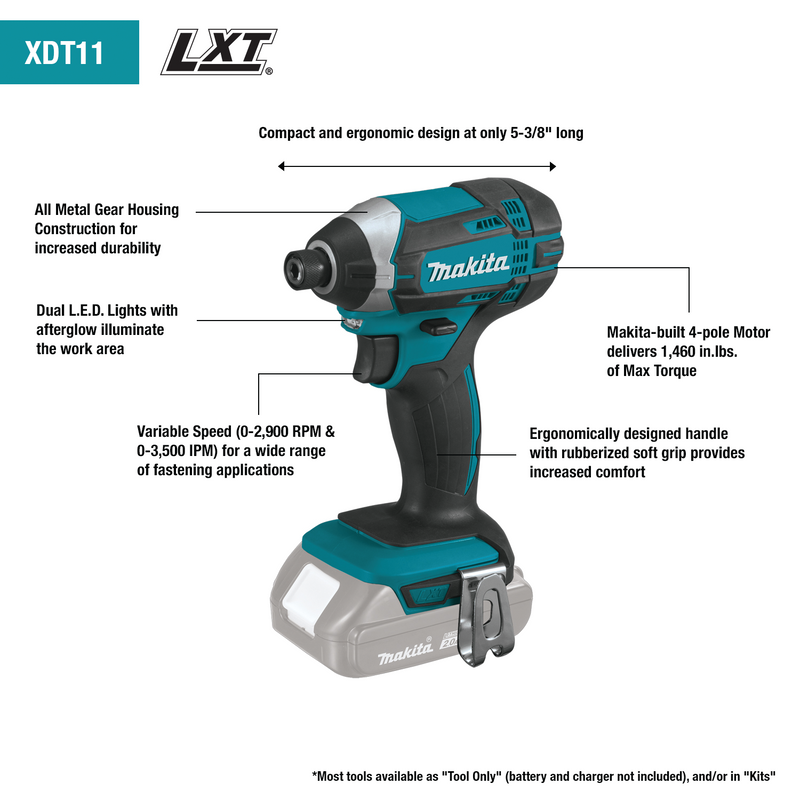 18V LXT® Lithium‑Ion Compact Cordless Impact Driver Kit (1.5Ah)