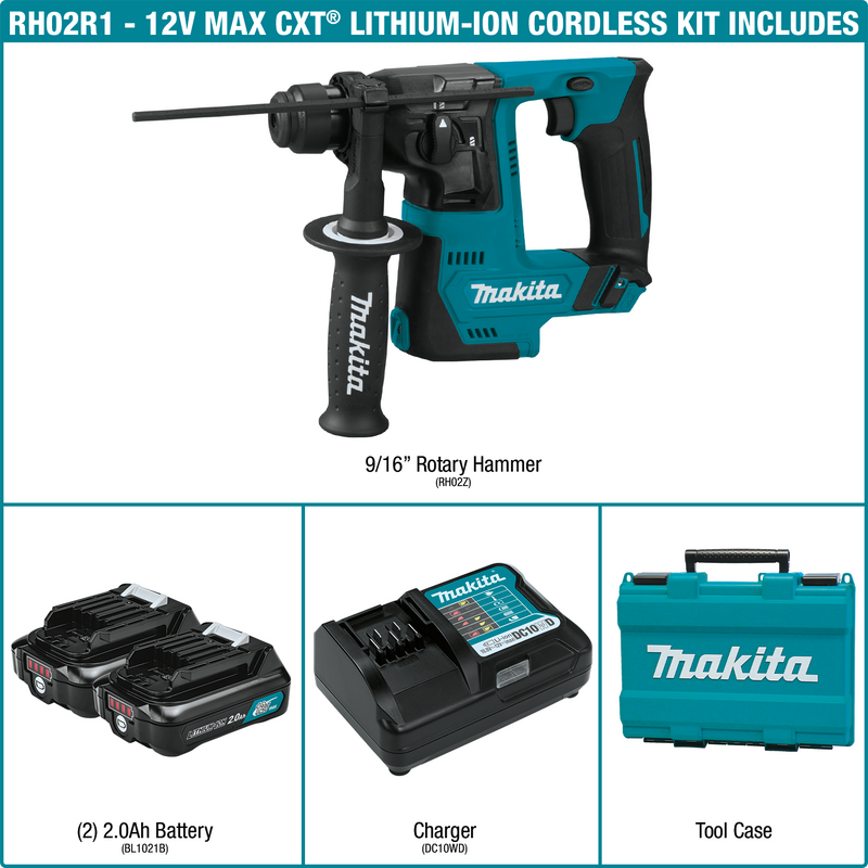 "12V max CXT® Lithium‑Ion Cordless 9/16"" Rotary Hammer Kit, accepts SDS‑PLUS bits (2.0Ah) (Pack of 3)"
