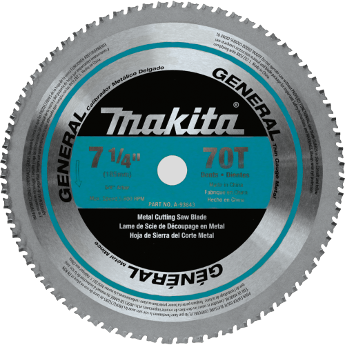 "7-1/4"" 70T Carbide-Tipped Saw Blade, Ferrous Metal, Thin Gauge(Pack of 50)"
