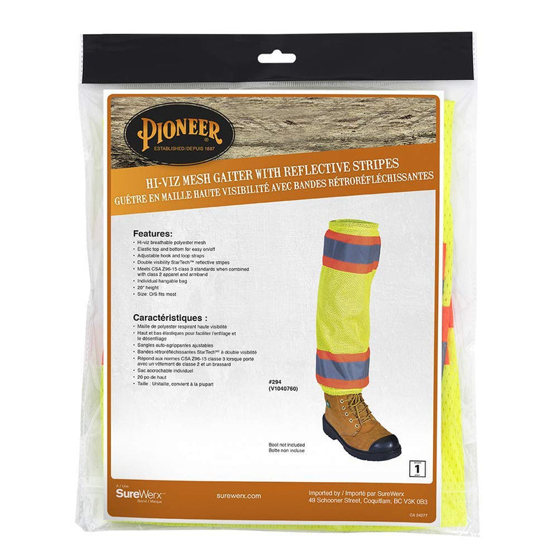 Pioneer V1040760U-O/S Lightweight, High Visibility Mesh Leg Gaiters, Reflective Tape(Case Of 50 Pcs)