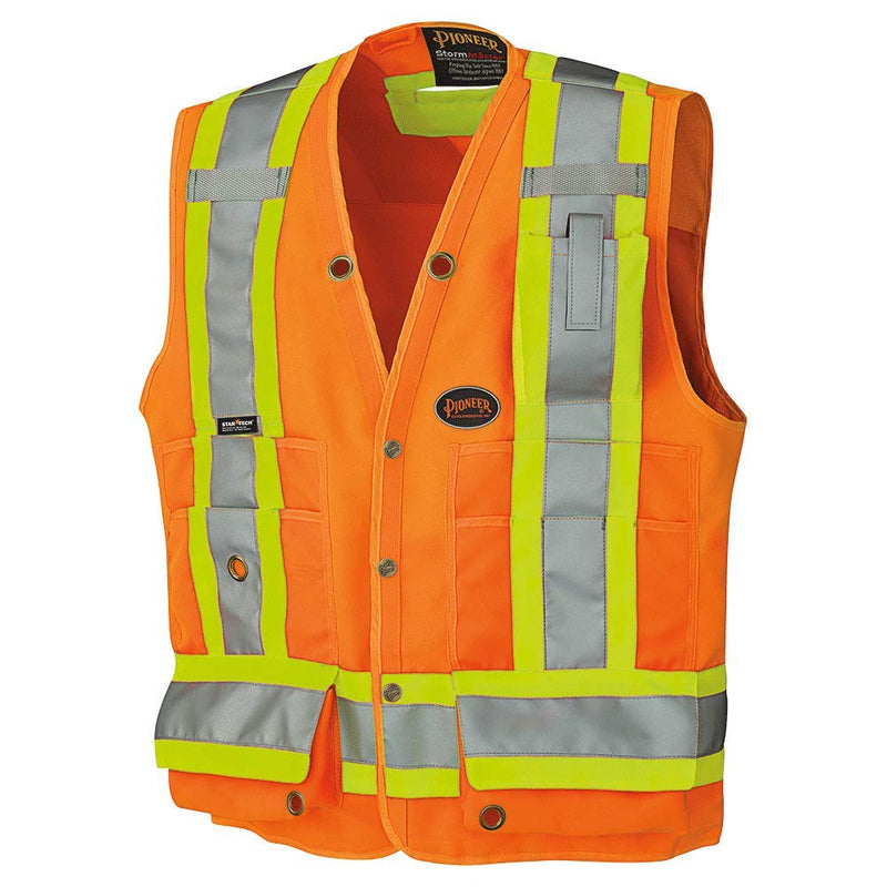 High Visibility Woven Surveyor Safety Vest with Mesh Vents - Orange(Case Of 24 Pcs)