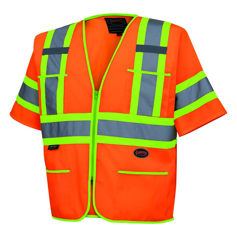 Pioneer V1023550U High Visibility Tricot Sleeved Safety Vest - (Case Of 24 Pcs)