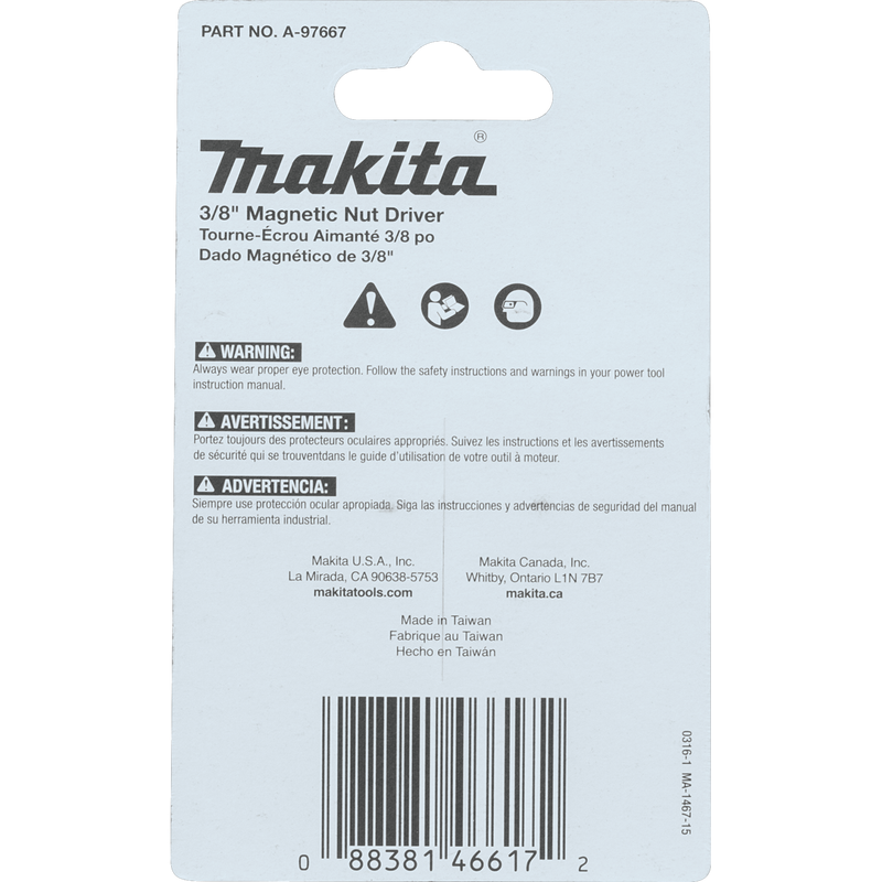Makita A-97667 ImpactX™ 3/8″ x 1‑3/4″ Magnetic Nut Driver, 3/pk (Pack of 100)