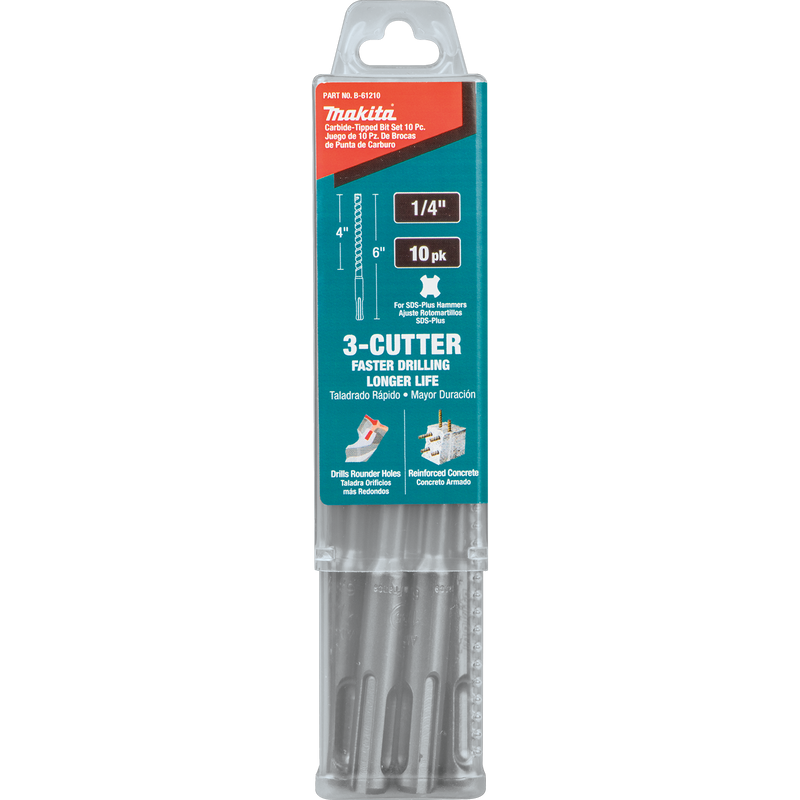 "Makita B-61210 1/4"" x 6"" SDS-PLUS Bit, 3-Cutter, 10/pk (Pack of 40)"