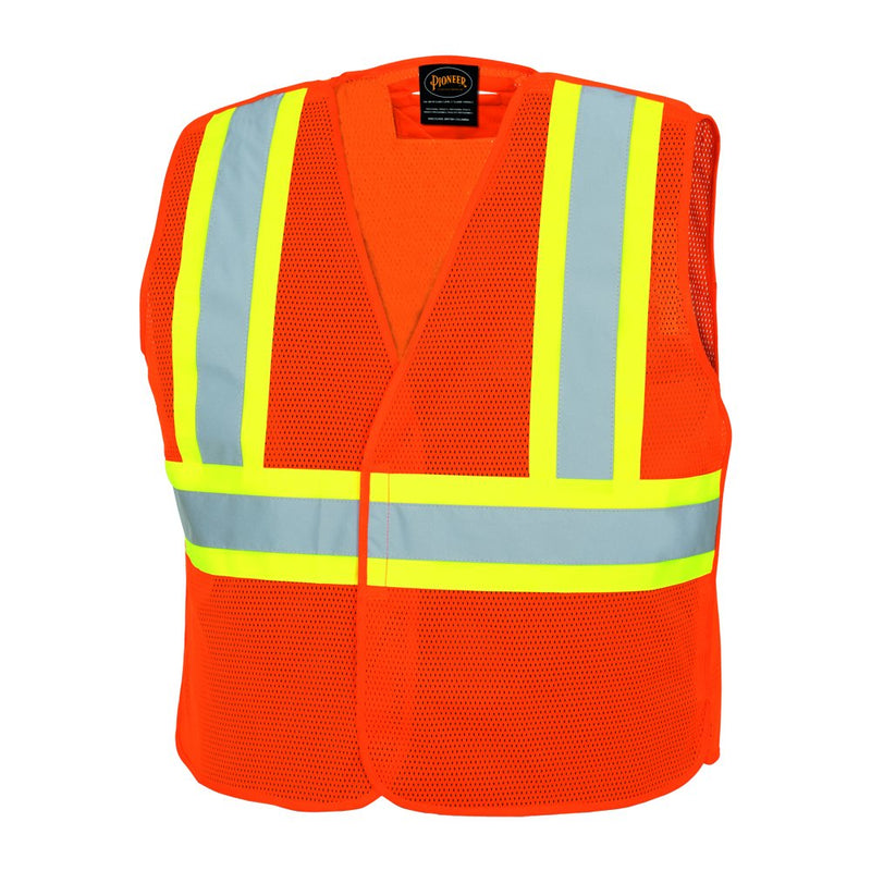 Pioneer High Visibility Mesh Tear-Away Safety Vest with Adjustable Front, Reflective Tape, Orange, Unisex(Case Of 50 Pcs)