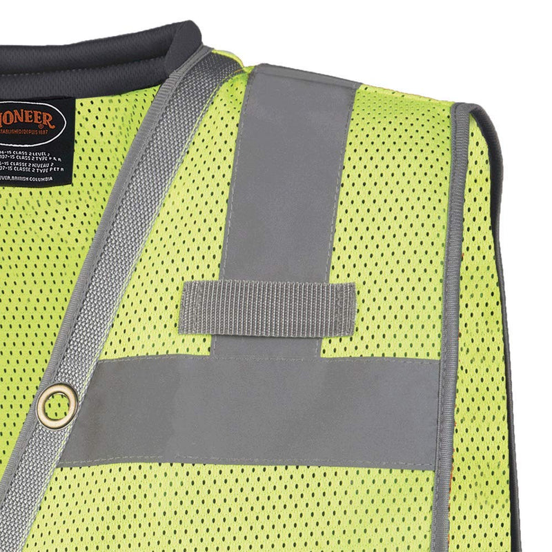 Pioneer V1011160U Reflective Neon Green Hi Vis Surveyor Safety Vest(Case Of 20 Pcs)
