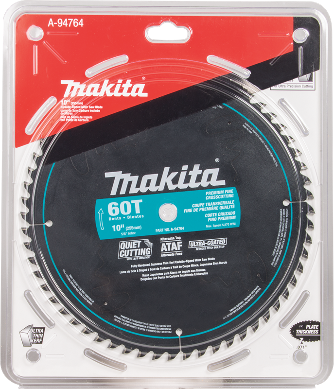 "Makita A-94764 10"" 60T Ultra‑Coated Miter Saw Blade"