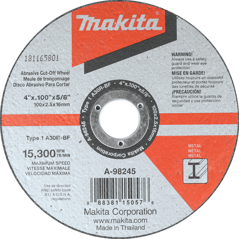 "4"" x 3/32"" x 5/8"" Cut‑off Wheel, Metal (Pack of 200)"