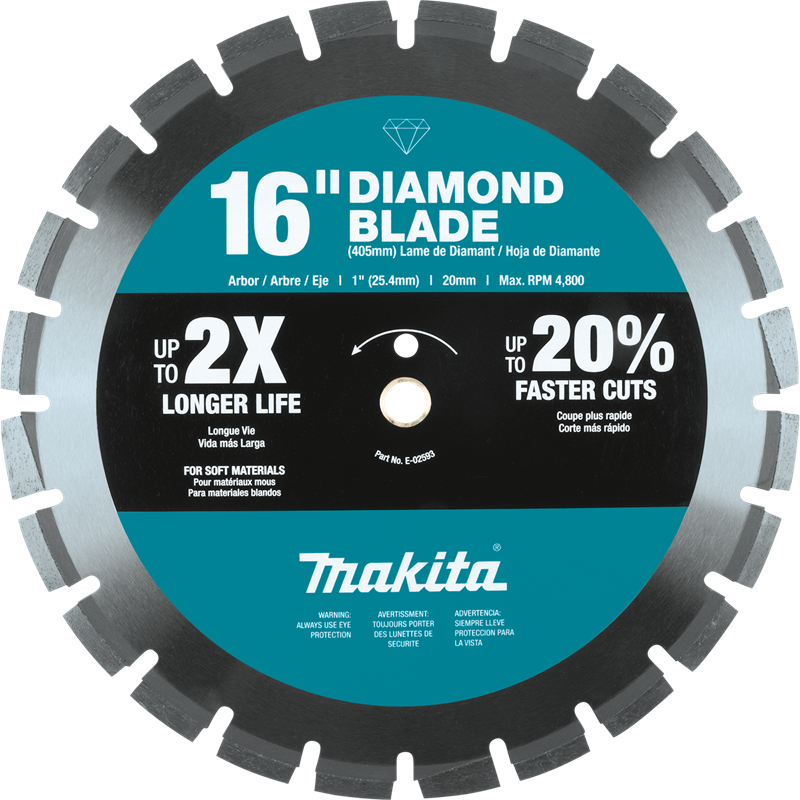 "Makita E-02593 16"" Diamond Blade Segmented, Soft Material (Pack of 8)"