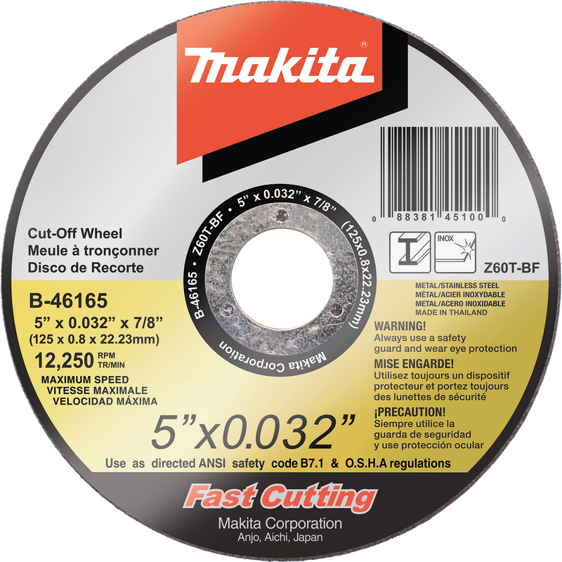 "Makita B-46165 5"" x .032"" x 7/8"" Ultra Thin Cut‑Off Wheel, Stainless (Pack of 25)"