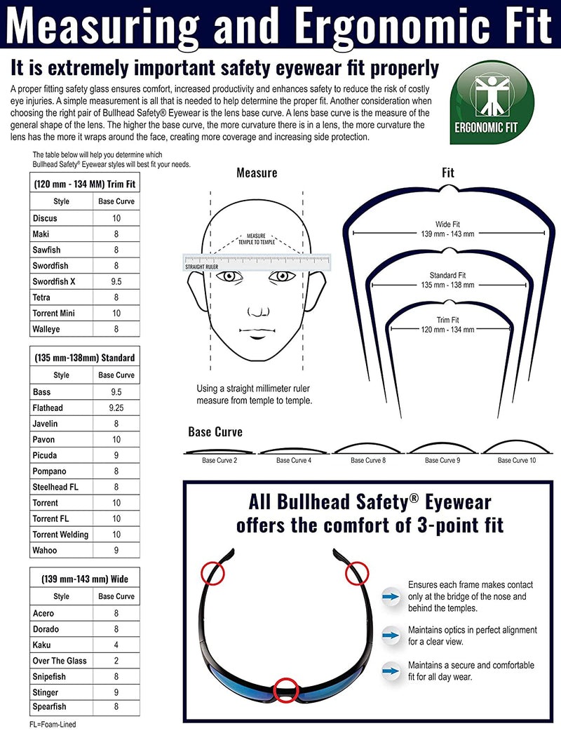 Bullhead BH2962  Matte Black Frame Safety Goggles (Pack of 12)