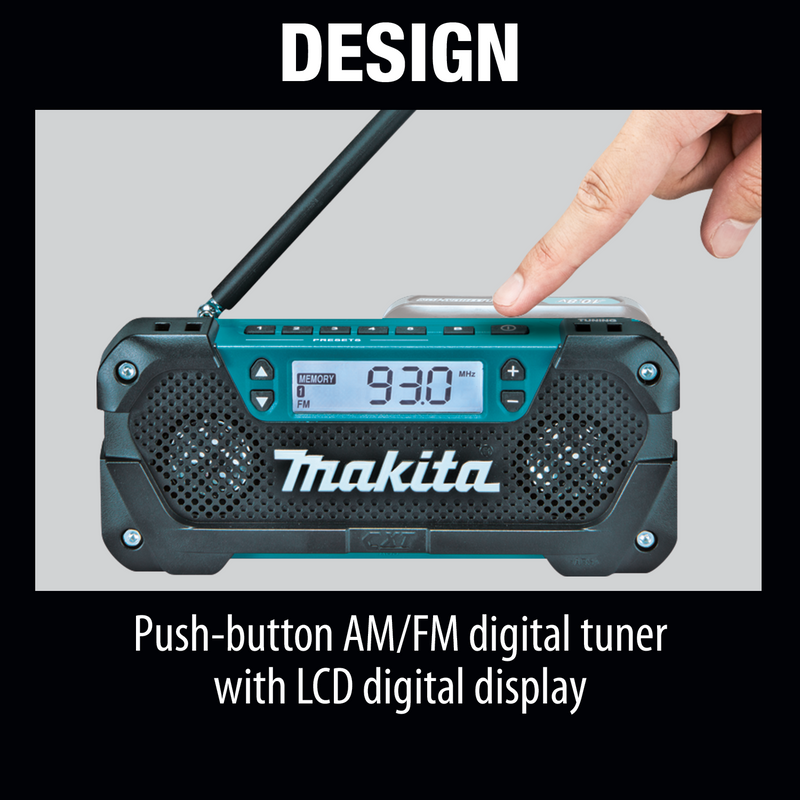 Makita RM02 12V max CXT® Lithium‑Ion Cordless Compact Job Site Radio (Pack of 10)