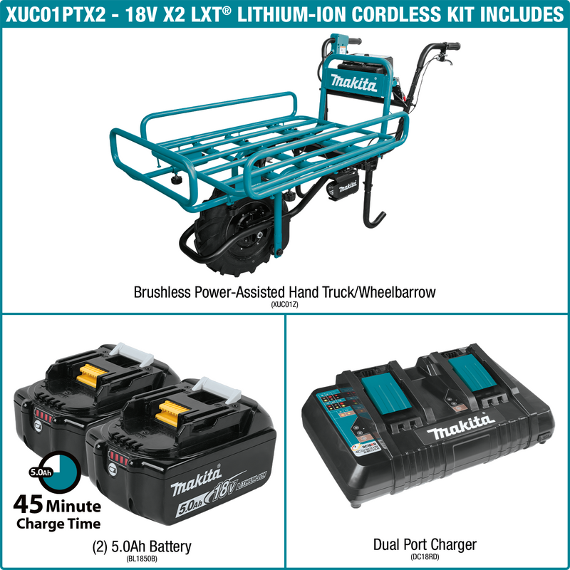 18V X2 LXT® Lithium‑Ion Brushless Cordless Power‑Assisted Flat Dolly Kit (5.0Ah)