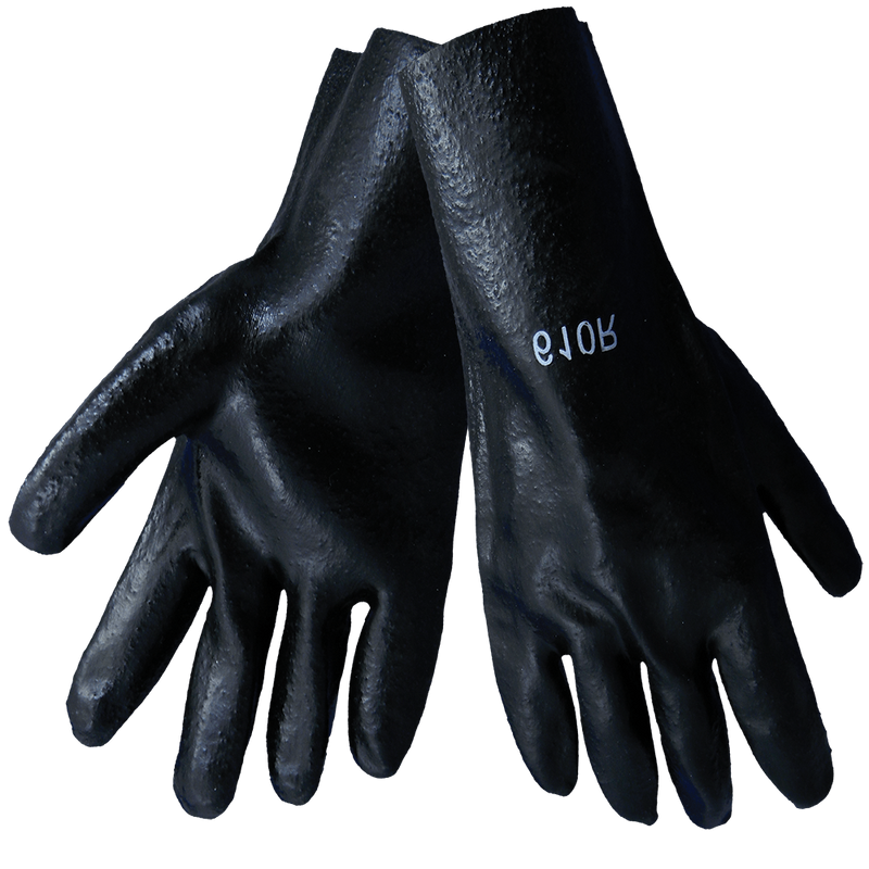 Global Glove 610R Economy 10-Inch Black PVC on Cotton Interlock Liner Solvent Resistant Gloves - XLarge (Case of 72 Pairs)