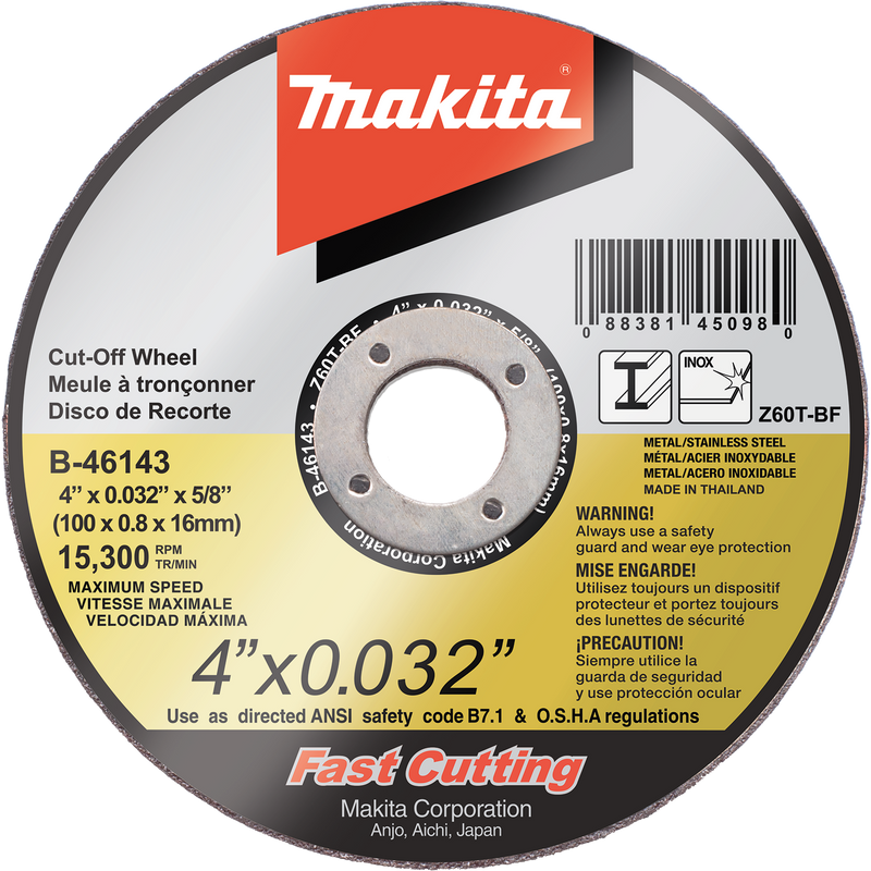 "Makita B-46143-25 4"" x .032"" x 5/8"" Ultra Thin Cut‑Off Wheel, Stainless, (Pack of 8)"