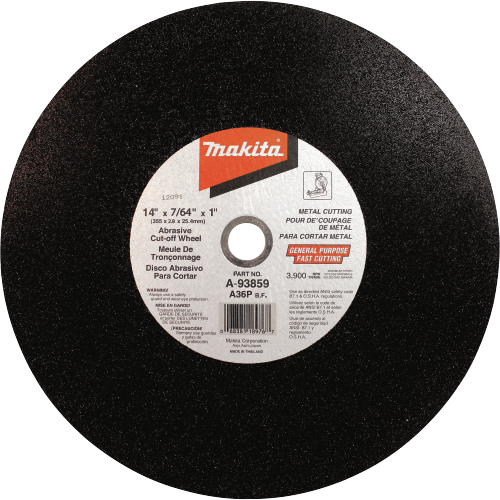 "Makita A-93859-25 14"" x 7/64"" x 1"" Abrasive Cut-Off Wheel"