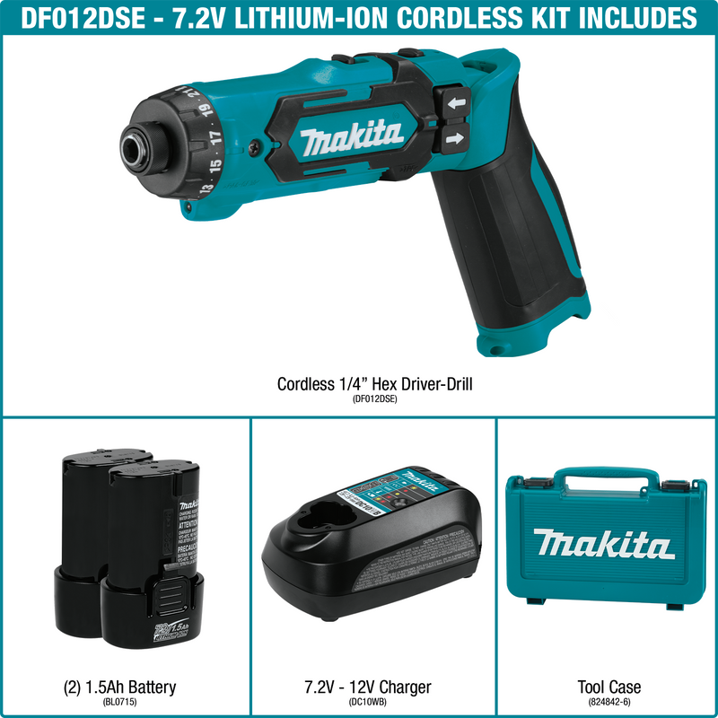 "7.2V Lithium-Ion Cordless 1/4"" Hex Driver-Drill Kit, Auto-Stop Clutch, case (Pack of 5)"