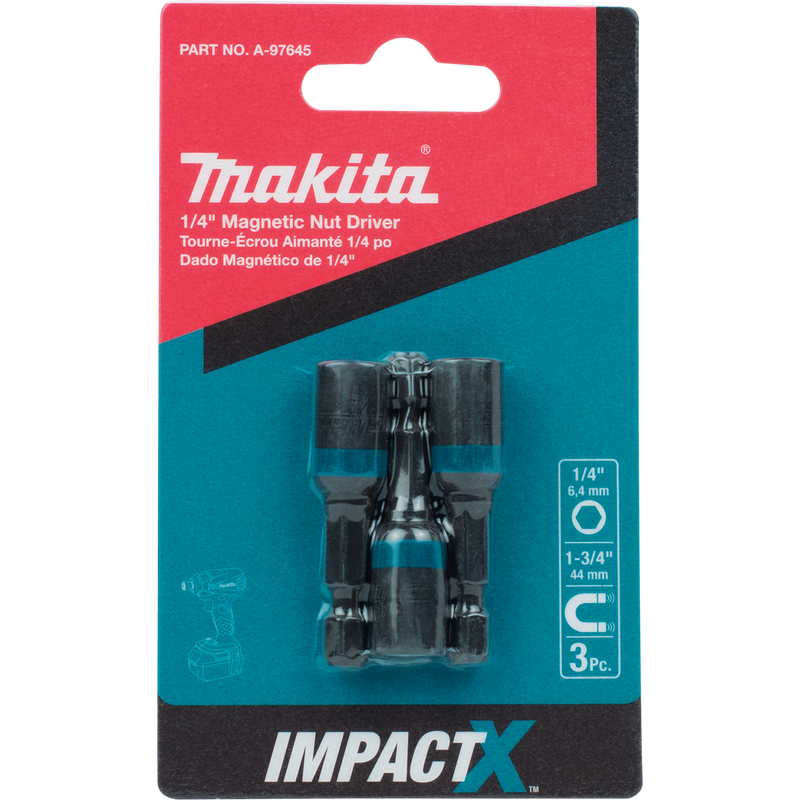 ImpactX™ 1/4″ x 1‑3/4″ Magnetic Nut Driver, 3/pk (Pack of 100)