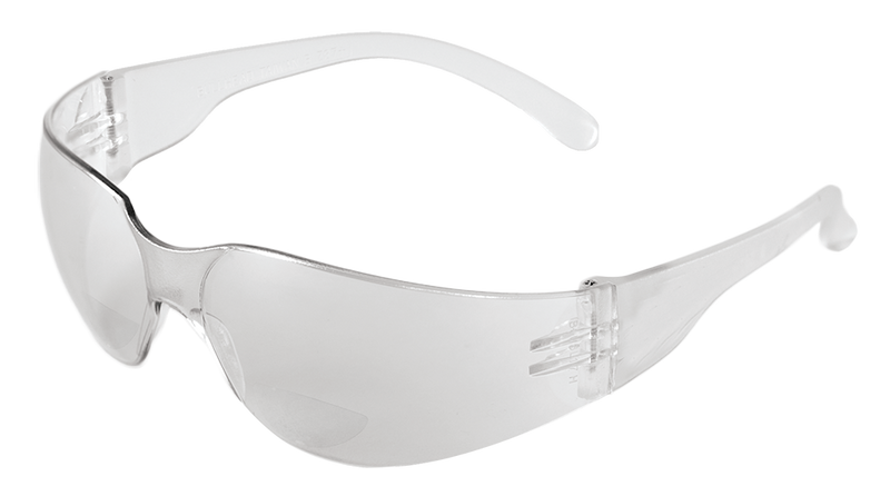 Bullhead BH11110 Clear 1.0 Diopter Reader Style Lens, Frosted Clear Frame Safety Glasses (144 Each/Case)